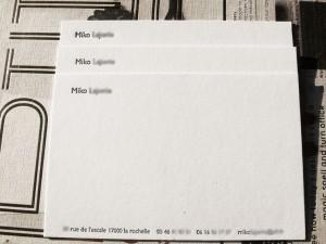 Carte de Correspondance letterpress
