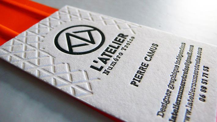 Cartes de visite letterpress L'Atelier numero 13