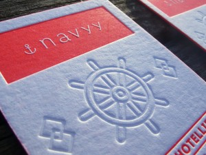 Cartes Letterpress Navyy Graphiste