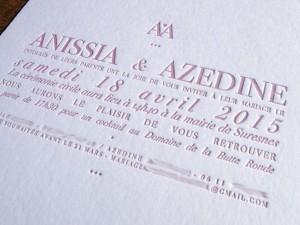 Faire-part de Mariage letterpress Anissia et Azedine