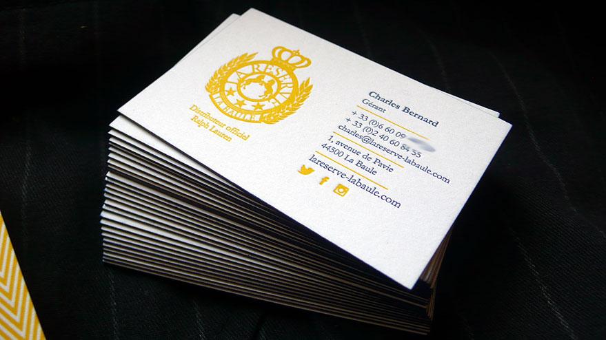 Cartes de visite Letterpress La réserve 3