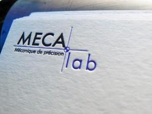 Cartes de visite recto verso letterpress MECALAB Mécanique de précision et Site Web