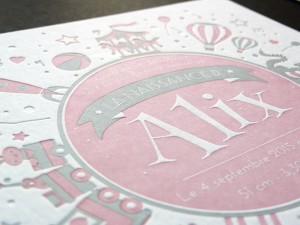 Faire-part de naissance letterpress pour Alix