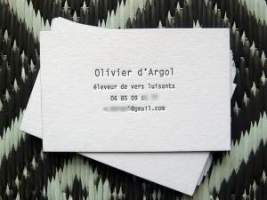 Cartes de visites letterpress Olivier d'Argol