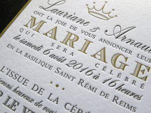 Faire-part de mariage letterpress 2 couleurs
