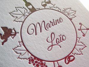 Faire-part de mariage letterpress «Marinne et Loïc»