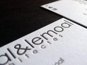 Cartes de visite letterpress Lemoal Architectes