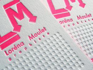 Cartes de visite letterpress Loréna / Graphiste