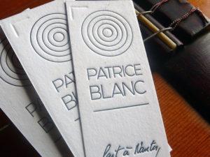 Étiquette letterpress du luthier guitare Patrice Blanc
