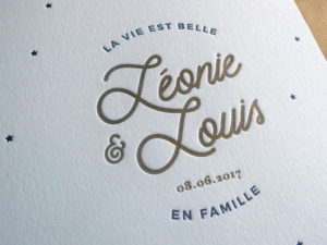 Faire-part de naissance letterpress Léonis & Louis