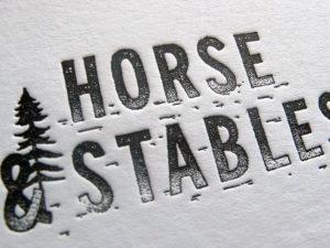 Cartes de visite Letterpress Horse & Stables